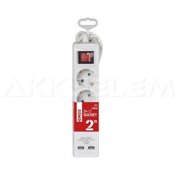 Hálózati hosszabbító 3 alj 2m kábel + 2xUSB + kapcsoló