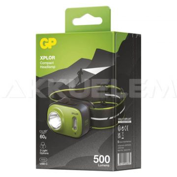 GP XPLOR PHR17 500lm fejlámpa Cree IPX6 Li-Po USB-C
