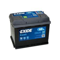 62Ah EXIDE Excell EB620 akkumulátor jobb+