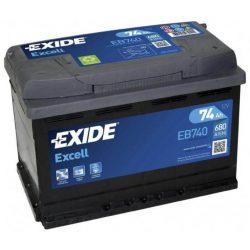 74Ah EXIDE Excell EB740 autó akkumulátor jobb+