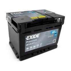 61Ah EXIDE Premium EA612 autó akkumulátor jobb+