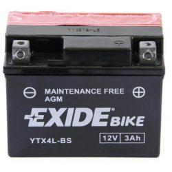 Exide YTX4L-BS ETX4L-BS 12V 3Ah motorkerékpár akkumulátor JOBB+