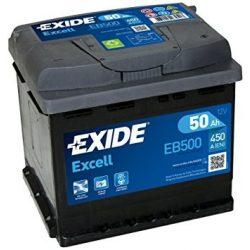 50Ah EXIDE Excell EB500 autó akkumulátor jobb+