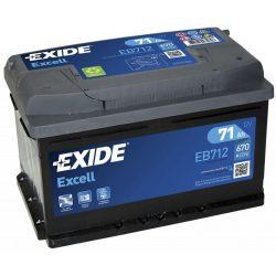 71Ah EXIDE Excell EB712 autó akkumulátor jobb+