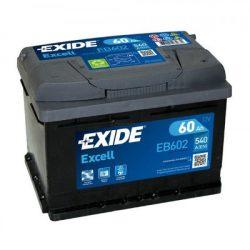 60Ah EXIDE Excell EB602 autó akkumulátor jobb+
