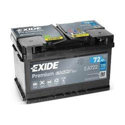 72Ah EXIDE Premium EA722 autó akkumulátor jobb+