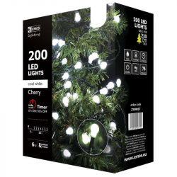 Karácsonyi fényfüzér 200LED 20m Kisgömb 12W kültéri, időzítős