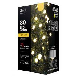 Cherry 80LED 3,6W karácsonyi fényfüzér 8m, meleg fehér fény, kültéri + beltéri