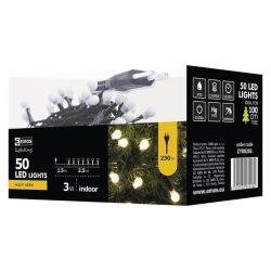 Kisgolyó 50LED karácsonyi fényfüzér, 2,5m, meleg fehér, beltéri