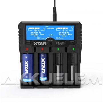 XTAR VP4 Plus Dragon négy csatornás Li-ion/Ni-MH LCD-kijelzős akkumulátor töltő/tesztelő