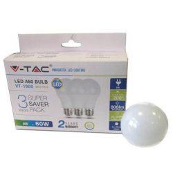 V-TAC 9W 806lm 2700K LED-izzó 3 db/doboz (E27 foglalat)
