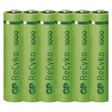 GP ReCyko+ 1,2V 950mAh AAA elemméretű akkumulátor 4 + 2 db AJÁNDÉK