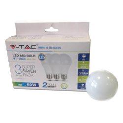 V-TAC 9W 806lm 6400K LED-izzó 3db/csomag SKU7242