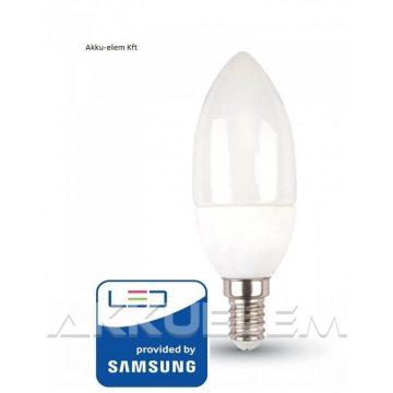 V-TAC E14 5,5W 470lm 3000K LED-izzó opál gyertya SAMSUNG chipes