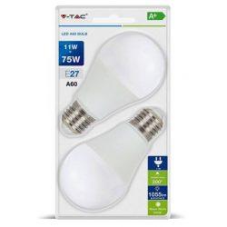 V-TAC 11W 1055lm 2700K LED-izzó 2db/csomag, meleg fehér fényű