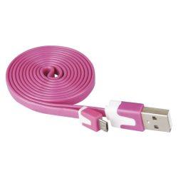 USB-microUSB kábel USB2.0 PINK színű, 1 m