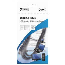USB-microUSB kábel USB2.0 2m USBA-USBmicroB 480Mbs fekete