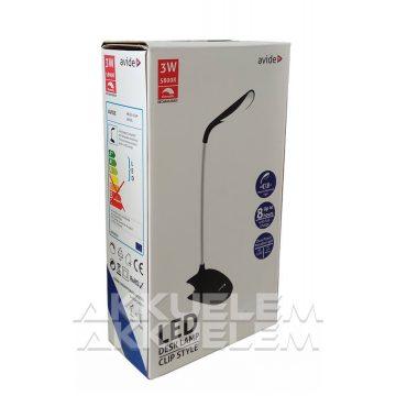 Avide 3W csiptethető lámpa dimmelhető, FEKETE színű