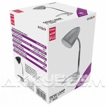 Avide BASIC 4W asztali lámpa C talpú, EZÜST színű + LED-izzó