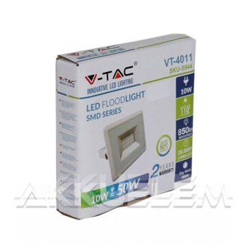 V-TAC 10W 850lm 4000K LED-reflektor fehér színű burkolat, természetes fehér fény