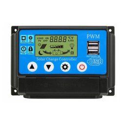 Napelem töltésvezérlő 12V/24V 10A PWM+USB