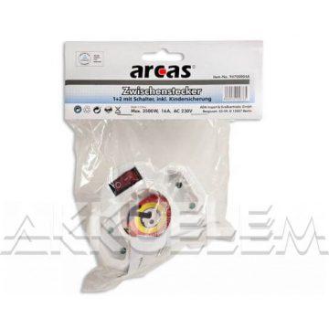 Arcas max.3500W 3X hálózati elosztó kapcsológombos, gyermekbiztos