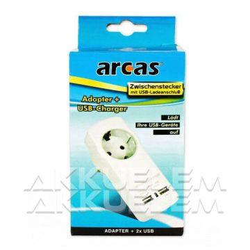 Arcas 1xEU 2xUSB  hálózati USB töltő adapter gyermekbiztos