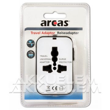 Arcas 1xEU 2xUSB utazó adapter közel 150 országban használható