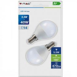 V-TAC P45 5,5W 470lm 2700K LED-izzó 2 db/bliszter