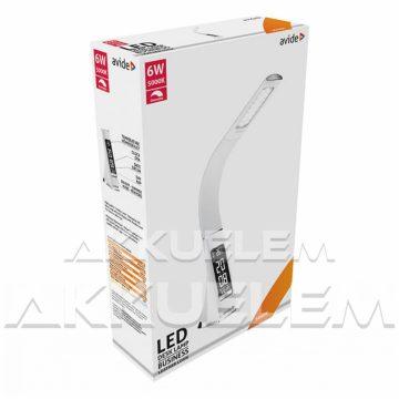 Avide Irodai 6W 350lm 5000K asztali lámpa naptáras, BŐRHATÁSÚ, fehér színű