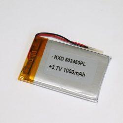 Li-Po akkumulátor 3,7V 1000mAh 503450 vezetékes, beszerelhető