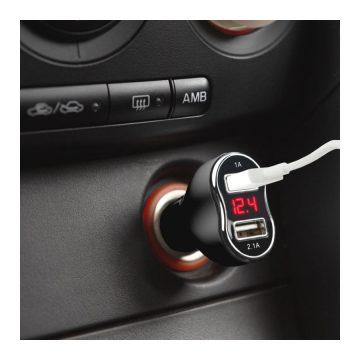 Kijelzős 2,1A USB autós adapter, V/A mérő 55054BK