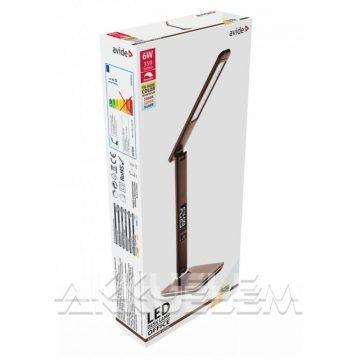Avide 6W 350lm 5000K asztali lámpa barna színű, bőrhat., naptáras
