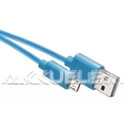 USB-microUSB kábel USB2.0 multi 1m világoskék, szövetborítású