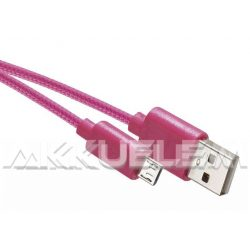 USB-microUSB kábel USB2.0 multi 1m rózsaszín, szövetborítású