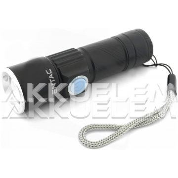 Alumínium kézilámpa 300lm 3W fókuszálható, USB-töltős