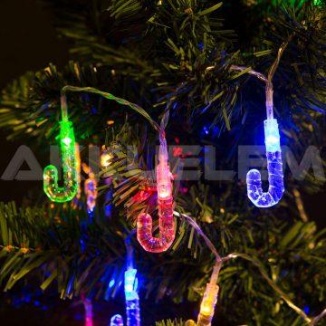 Karácsonyi fényfüzér 20LED 2m színes, nyalóka formájú 2AA