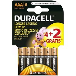 Duracell Basic MN2400 LR03 AAA elem 4+2db-os csomagban