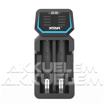 XTAR D2 kétcsatornás 18650 Li-ion akkumulátor töltő, töltésjelzővel