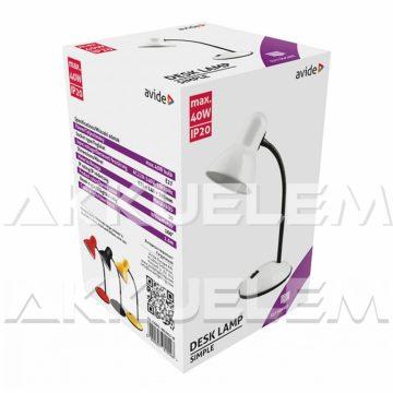 Avide Basic max40W asztali lámpa, FEHÉR színű