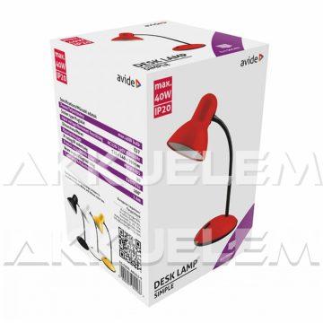 Avide Basic max40W asztali lámpa, PIROS színű