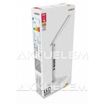 Avide Irodai 6W 350lm asztali lámpa FEHÉR színű, naptáras, bőrhatású, dimmelhető
