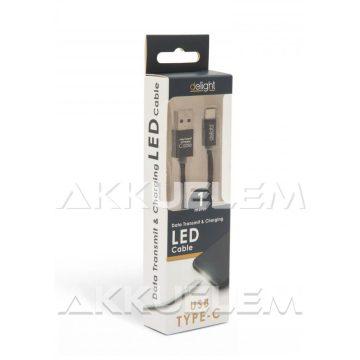 USB Adatkábel + töltő 1m USB-C LED fénnyel fekete