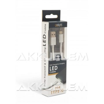 USB Adatkábel + töltő 1m USB-C LED fénnyel ezüst