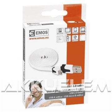 USB 2.0 / MicroUSB multi kábel 1m feltekerhető, fehér színű SM7001W