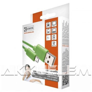USB 2.0 / MicroUSB multi kábel 1m, vászon borítás, zöld színű SM7006G