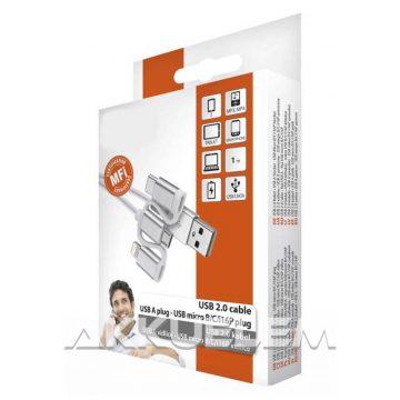 USB 2.0 kábel + átalakító USB micro B C i16P csatlakozókkal, 1m