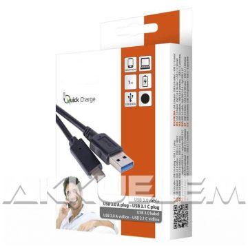 USB C 3.1 kábel Quick Charge kompat. 3A gyorstöltő 1m