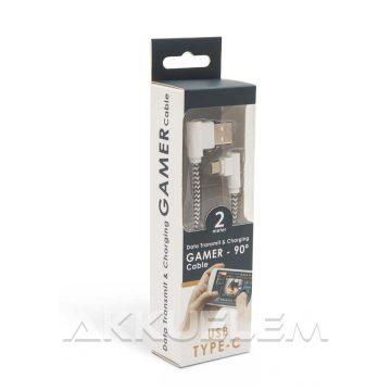 USB Adatkábel + töltő 2m USB TYPE-C Gamer 90° fehér-fekete