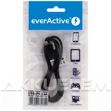 everActive USB-IPhone kábel 2,4A 1m vászon borít.